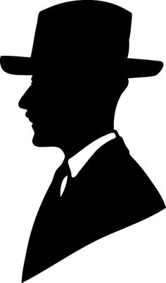 Victorian Man Silhouette | Vintage Silhouette of Man in Hat