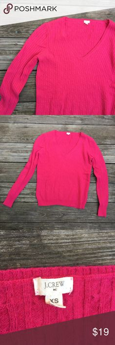 "J. Crew V-Neck Sweater This sweater is HOT!.........pink. Lol Very pretty and in perfect condition. Size XS. 21.5"" long and 17"" at bust. Bundle 2+ items to get 10 % off. J. Crew Sweaters V-Necks"