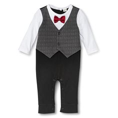 Newborn Boys' Jumpsuit Bow Tie Vest Black