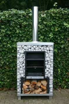 Surround Your Pizza Oven or Grill with Gabion Baskets Outdoor Stove, Outdoor Fire, Outdoor Living, Outdoor Barbeque, Barbecue Original, Parrilla Exterior, Gabion Baskets, Gabion Wall, Rocket Stoves