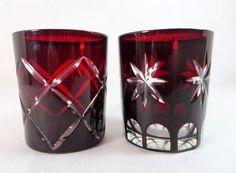 Art Deco Czech Bohemian Egermann Ruby Crystal Cut to Clear Glass Whisky Tumblers - ebay 99p