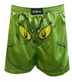 cc8514bbad Amazon.com: Dr. Seuss Grinning Grinch Liquid Satin Boxer Shorts for men: