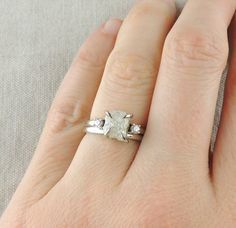 2.83 Carat Rough Diamond Engagement Ring by PointNoPointStudio