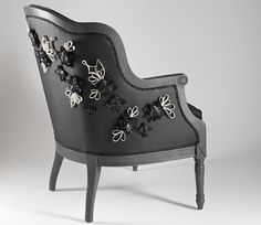 Sophie Marionnet Studio Leather armchair embroidered Young Designers, Butterfly Chair, Sofa Chair, Studio, Leather, Armchairs, Furniture, Couture, Home Decor
