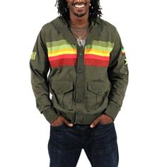 A Rasta Stripe Chest Pattern, Rasta and Jamaican Flag patches on the left sleeve, as well as a Buffalo Soldier patch on the right sleeve will surely make you stand out from the crowd! The back of the jacket features a screenprinted Lion of Judah background, a Bob Marley light green contrasting sewn down appliqué added over the top of it, and Kingston, Jamaica embroidery added right below it in a complimenting yellow color.