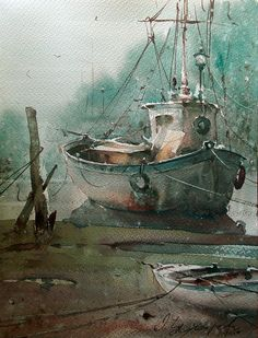 watercolor in love Watercolor Artists, Watercolor Landscape, Watercolor Paintings, Watercolors, Boat Painting, Painting & Drawing, Boat Art, Nautical Art, Painting Inspiration