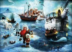 alexander jansson: Illustrations  Arctic  eskimo boat