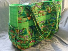 The ultimate diaper bag, Teenage Mutant Ninja Turtles print and lime green dots with magnetic snap, TMNT on Etsy
