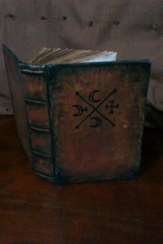 grimoire satanic creepy demonic book of shadows blank handmade antique old medieval ancient looking book. recipe larp prop non leather gift