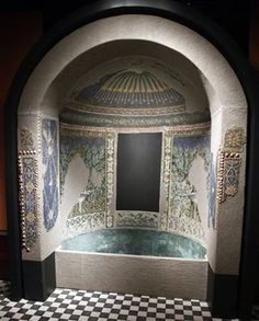 Pompeii ~ House of the Golden Bracelet or House of the Wedding of Alexander Garden Rooms ~ Summer triclinium 31, original nymphaeum mosaic pattern reconstructed in exhibition apse. Now in Naples Archaeological Museum.