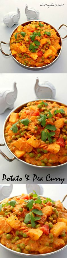 Potato and Pea Curry ~ Fragrant Indian spices enhance a creamy tomato sauce filled with luscious golden potatoes and sweet peas