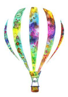 Jasmin Ekström      Hot air balloon watercolor illustration