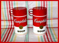 2 - Vintage 1998 CAMPBELL'S Soup Can-Tainer© Insulated Hot Food Thermos Containers by AjsVintageTreasures on Etsy