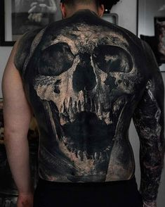 Reaper's Face Tattoo on Back by Sandry Riffard Tattoos For Guys Badass, Back Tattoos For Guys, Full Back Tattoos, Great Tattoos, Beautiful Tattoos, Skull Tattoos, Body Tattoos, Sleeve Tattoos, Horror Tattoos