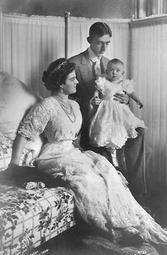 Prince Wilhelm of Sweden with his wife, Grand Duchess Maria of Russia, and their only child, Prince Lennart.