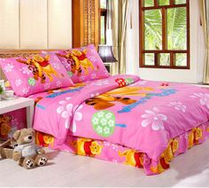 pink winnie pooh dovet cover kids bedding sets with twin size,full size,or queen size.