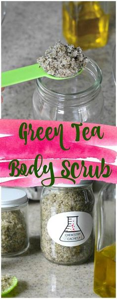 Easy DIY Green Tea Body Scrub with Rose. Find the Turtorial for green tea scrub on chemistrycachet.com