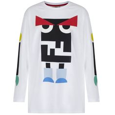 0221023db Fendi Boys White Long Sleeved T-Shirt with Multicoloured Robot Print Boys  Long Sleeve, Crew Neck, Boys, Printed , @ Chocolate - Luxury childrenswear  for all ...