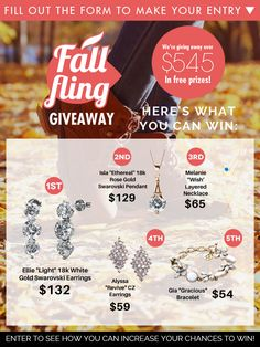 Enter to win over $545 in FREE prizes! Fall is a wistful time of year, but that's no reason not to have a fall fling. Cate & Chloe wants to help cheer up your autumn with our most popular free fashions!