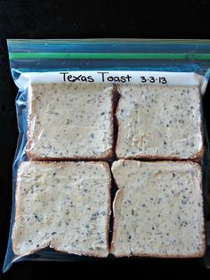 Texas Toast Make Your Own Freezer Garlic Texas Toast - better than store-bought!Make Your Own Freezer Garlic Texas Toast - better than store-bought! Make Ahead Freezer Meals, Crock Pot Freezer, Freezer Cooking, Cooking Recipes, Freezer Recipes, Freezer Desserts, Bulk Cooking, Freezer Biscuits Recipe, Drink Recipes