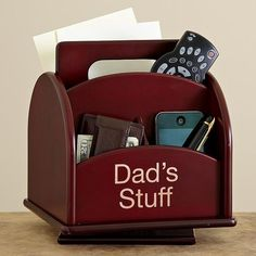 Revolving wood organizer is a wonderful gift that's useful as well as unique!  Personalize it with any 2 line message to make it more special.  {affiliate link}