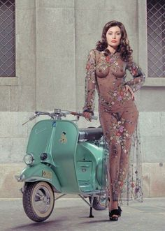 My favorite things.Vintage Vespa motorscooters, archery and the curves of a beautiful woman. Vespa Girl, Scooter Girl, Lambretta Scooter, Vespa Scooters, Biker Chick, Biker Girl, Vespa Vintage, Chicks On Bikes, Lingerie Fine