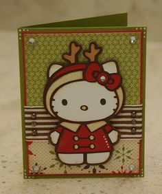Hello Kitty Card by Monique Griffith of monkeydoodlecricut using the Cricut Hello Kitty Greetings cartridge.