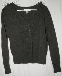 Marisa Christina Charcoal Gray MERINO WOOL SMALL Button vneck Cardigan sweater