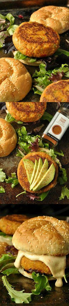 Cajun Chickpea and Sweet Potato Veggie Burgers #chickpea #sweetpotato #burgers