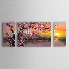 Pintados à mão Floral/Botânico Horizontal Panorâmica,Clássico Tradicional 3 Painéis Tela Pintura a Óleo For Decoração para casa de 2017 por $134.82
