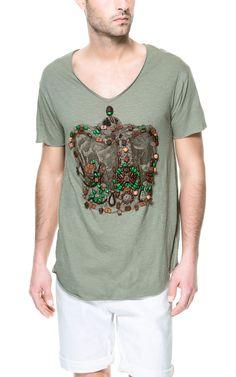 手工刺绣图印 T 恤 - T 恤 - 男士 - ZARA 中国
