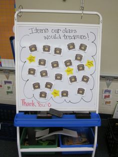"""Items our class would treasure"" - so cute!"