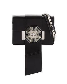 Prada Jewels Ribbon Flap Shoulder Bag, Black (Nero)