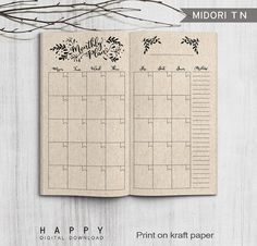 Printable Monthly Planner Midori Monthly by HappyDigitalDownload