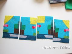 Karten aus Stoffresten / Cards made from scraps of fabric / Upcycling