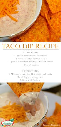 Want a great dip for your next party? Then you have come to the right place! Enjoy this simple, eays and cheap Taco Dip. Ingredients: – 1 container of sour cream – 1 cup of shredded cheddar cheese – 1 packet of Hidden Valley Fiesta Ranch Dip mix Appetizer Dips, Appetizer Recipes, Snack Recipes, Party Appetizers, Party Dips, Party Party, Sour Cream Dip, Fiesta Dip Recipe Sour Cream, Cream Cheese Taco Dip