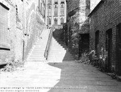 Short Stairs Narrow Marsh August 1963 Nottingham Lace, Nottingham City, Local History, Family History, History Photos, Past, Nostalgia, Stairs, England