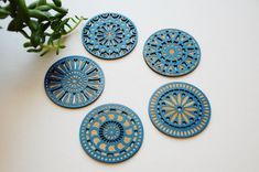 Geometric Wood Cut Coasters  Laser Cut Blue Stain por LuccaWorkshop, $32.00