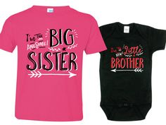 Big Sister Little Brother Shirts set of 2 Sibling by TexasTeesPlus