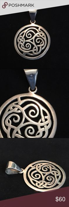 Silpada pendant S1230. Sterling silver Celtic-inspired design. Solid, hard to find piece. EUC. Silpada Jewelry Necklaces