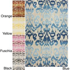 Make your decor pop with this brightly colored handmade rug in easy-care fiber that resists shedding.  Available in blue, orange, yellow, black, or fuschia, this stunning modern floral floor covering is a bold way to update any room.