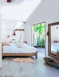 Bedroom, flora, bed, white