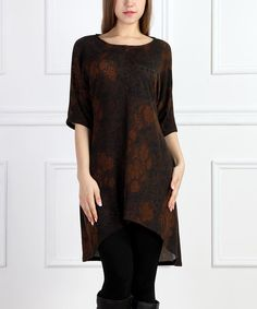 Loving this Brown & Rust Floral Hi-Low Dress on #zulily! #zulilyfinds