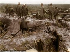 Allied soldiers are seen chatting to locals, smiling and taking time out during the Battle of Passchendaele, where more than men lost their lives, from July 31 to November Ww1 History, World History, History Images, Military History, Family History, World War One, First World, Ww1 Battles, Battle Of Passchendaele