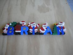 Santa name decoration handmade wooden with individual letters by WoodnThingsNY12534 on Etsy