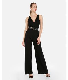 846bdda6f590 Deep V-Neck Wide Leg Jumpsuit Black Women s XXS Black Jumpsuit