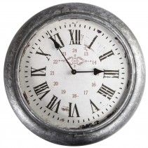 Metro Iron clock round grey paris