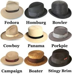 Types of men's hats.  ZsaZsa Bellagio – Like No Other: Man Glam