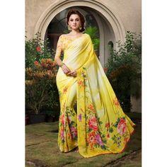 Designer Yellow Printed With Borders Georgette Saree - RKSARD224 (FH-RKSARD207)