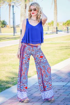 Red, White, & You Palazzo Pants